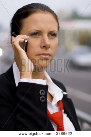 Businesswoman Talking By Mobile Phone