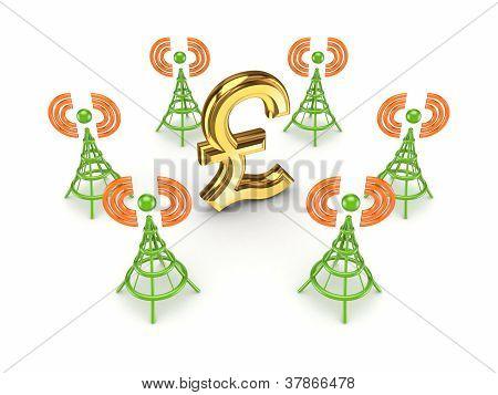 Stylized antennas around pound sterling sign.