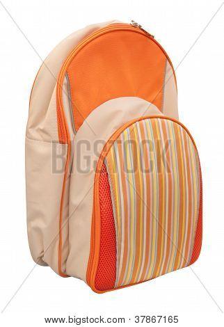 Orange school bag isolated on white