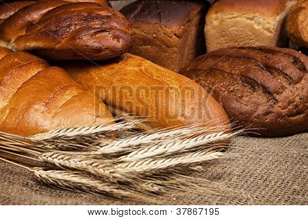 Variety Of Fresh Bread With Rye Ears