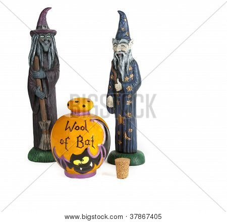 Halloween witch and wizard with wool of bat container