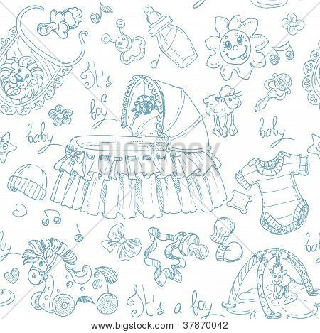 Seamless background is a boy with toys, clothing and accessories doodle