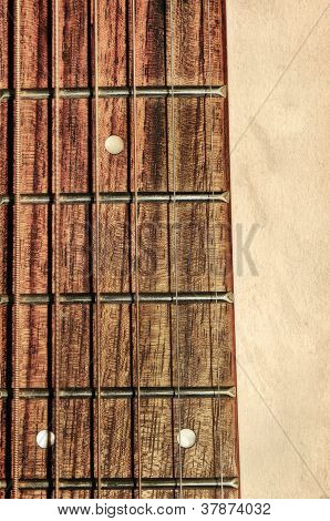 Guitar Neck Fingerboard On Detail Close Up