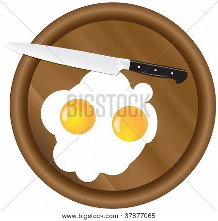 Wooden Kitchen Board And Eggs