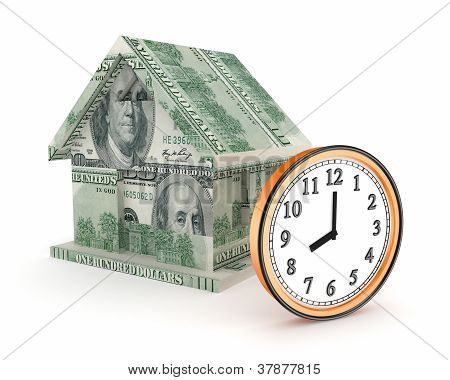 3d small house made of dollars and big watch.