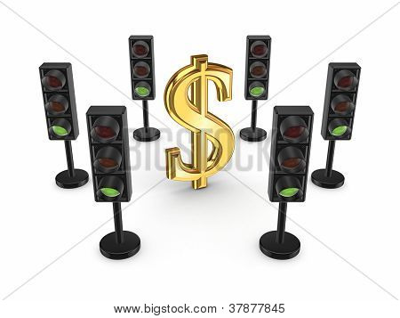 Traffic lights around dollar sign.