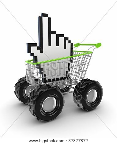 Cursor in a shopping trolley.