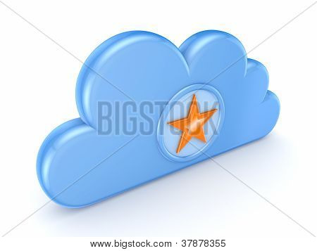 Blue cloud and star symbol.