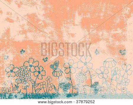 Grunge Peach Floral Background
