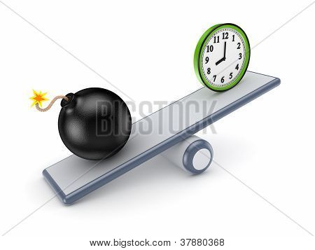 Black bomb and green watch on a scales.