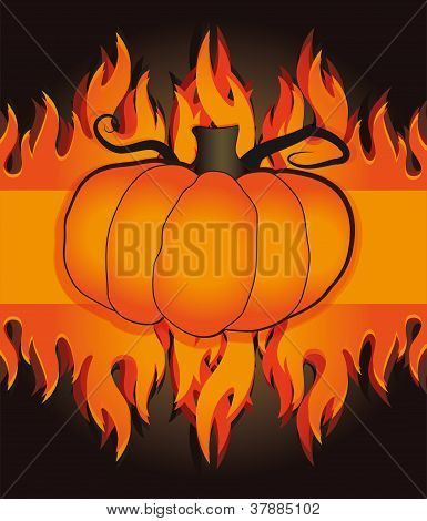vector pumpkin flames fire card halloween menu template