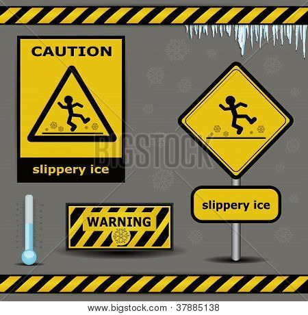 vector sign caution slippery ice warning collection