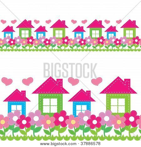 seamless pattern of houses and flowers