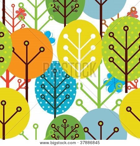 seamless pattern of trees