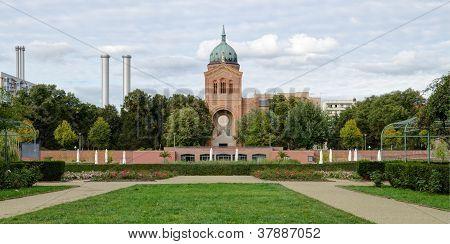 View of the Michaelkirche from the Rosengarten in Kreuzberg, Berlin