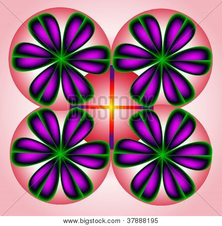 Color Abstract Composition With A Purple Balls And Pink Background