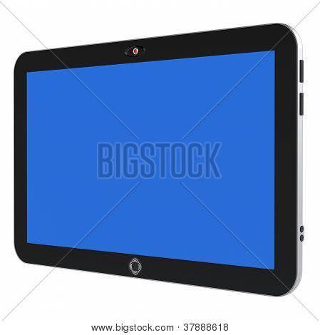 Abstract Digital Tablet Pc With Blue Screen Isolated On White Background. 3D Render.
