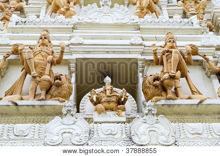 Ornate Hindu God And Goddess Temple Stone Sculptures