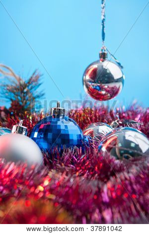 festive balls and toys for new year