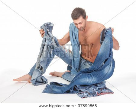 Man Deciding What To Wear