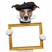 foto of border terrier  - painter artist frame holding dog holding it - JPG