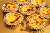stock photo of pasteis  - Traditional Portuguese egg tarts  - JPG
