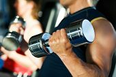 stock photo of weight-lifting  - Strong man exercising with dumbbells in a gym in the background a woman also lifting weights - JPG