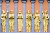 foto of vinayagar  - Hindu Temple Exterior Stone Wall Carvings of Goddess and Priestess - JPG