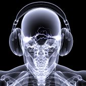 image of rave  - Skeleton X-ray DJ: An X-ray of a male skeleton DJ wearing headphones with electric activity in his head.