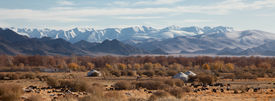 picture of safe haven  - traditional dwelling of Mongolian nomadic yurt a safe haven in a harsh climate - JPG