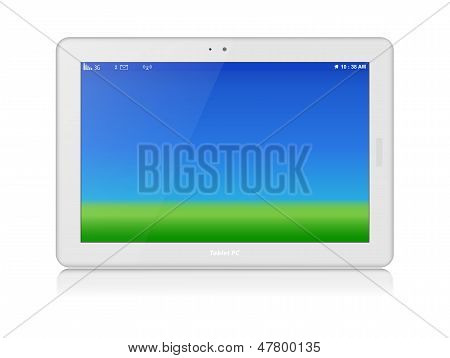Blanco Tablet Pc. Vector. Horizontal. Copia espacio