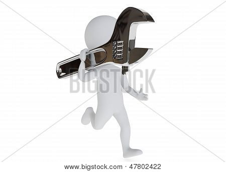 3D Humanoid Character Running With A Wrench