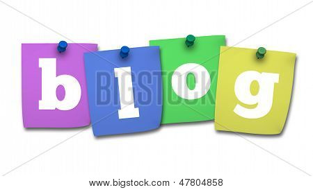 Blog Word On Colorful Post It