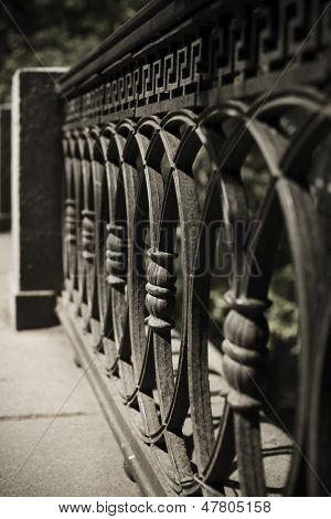 wrought iron fence detail ( selective focus  on center part)