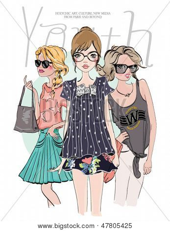 youth sketch fashion girl friends