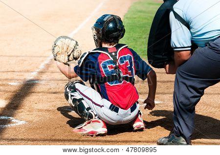 Teen Baseball Catcher