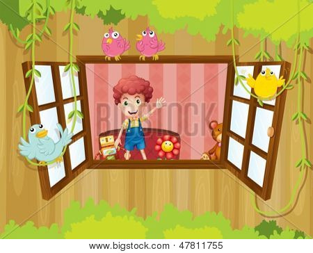 Illustration of a boy waving at the window with birds