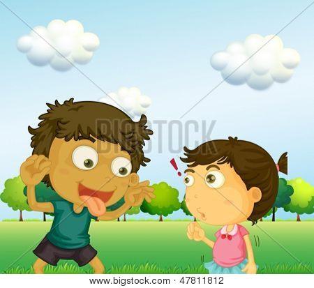Illustration of a boy annoying a little girl