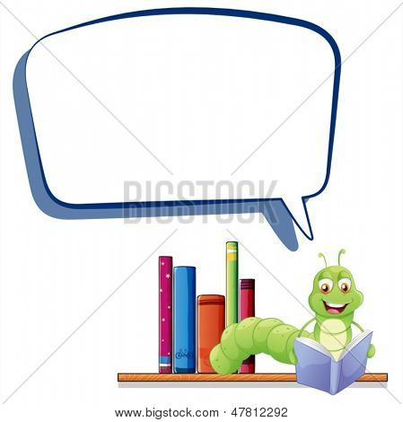 Illustration of a caterpillar reading with an empty callout on a white background