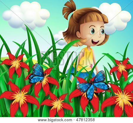 Illustration of a small girl at the flower garden with butterflies