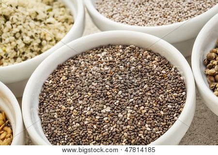 chia seeds in a white ceramic bowl among other healthy seeds