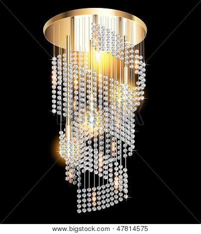 Modern Chandelier With Crystal Pendants On The Black