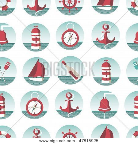 Nautical Seamless Pattern With Sea Elements