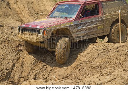 American Car In Muddy Terrain