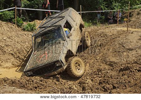 Off Road Car Stuck In A Muddy Terrain