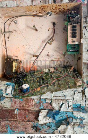 Broken Security Alarm Box In Abandoned Building