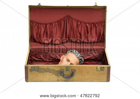 an old vintage 1950's era suitcase with a plaster mannequin head from the 1930s inside  isolated on white with room for your text