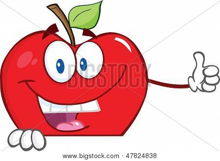 Smiling Apple Cartoon Character Holding A Thumb Up Over Blank Sign