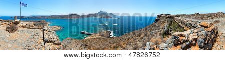 Panorama Of Gramvousa , Westernmost Peninsula Of Crete In Greece. Remains Of Venetian Fort On The To