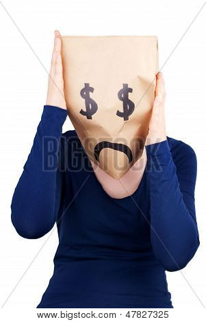 A Desperate Dollar Paper Bag Head